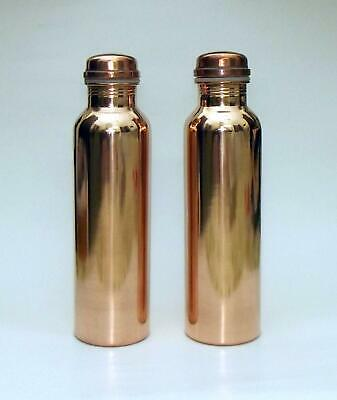 100% Pure Copper Water Bottle (1000 ml, Brown) -Set of 2 Bottles Contains  - FS