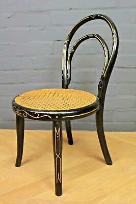 Antique Thonet Ebonised Bergere Cane Childs Bedroom Boudoir Chair ~ Teddy Chair