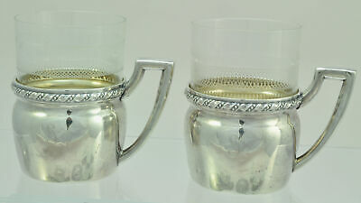Antique Pair of German 800 Silver Glass Holders with Tumblers