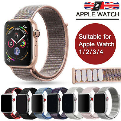 38/42mm Woven Nylon Sport Loop Wrist Band Strap For iWatch Apple Watch 1/2/3 UK