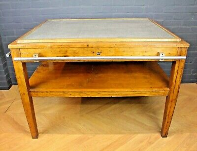 Antique Reclaimed Industrial Oak Cutting Table, Kitchen Island Work Bakers Table