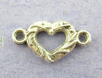 12 x Heart Connector Links silver tone Tibetan style charm Jewellery craft 16 mm