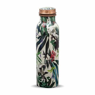 Rohani Pure Copper Water Bottle (1litre) Handmade, Printed, Leak Proof, for Scho