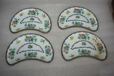 Four Vintage Mintons China Crescent Shaped Plates Floral Pattern