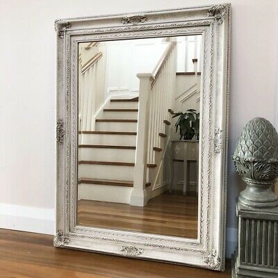 Large Vintage French Style Ornate Wall Mirror, Bevel Edge, White