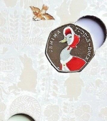 2016 Beatrix Potter 🦆 xmas 🎅colour DECAL Jemima Puddleduck 50p Coin