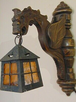 Antique French Wood Carved Gothic Gargoyle Griffin Wall Sconce Light Lantern