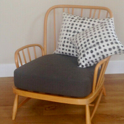 A NEW SEAT CUSHION FOR AN ERCOL TWO SEATER SOFA in GREY LINEN FABRIC