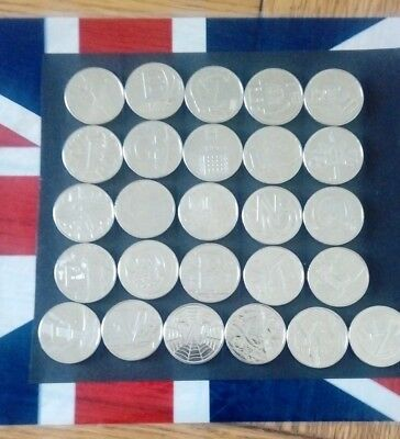 March Sale 2018 Full Set Of A-Z 10 Pence Coins From Bank Bags Details Below