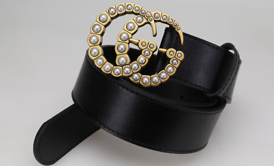 New fashion luxury street fashion high quality men and women belt pearl buckle