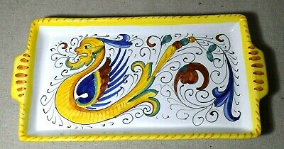 Deruta Raffaellesco Dragon Italian Pottery Rectangular Serving Tray 12 x 6 Inch