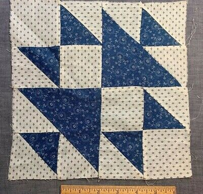 """Antique Vintage Late 1800s Early 1900s Quilt Block 9&1/2"""" Indigo Blue & Shirting"""
