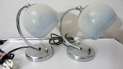 Beautiful pair of German ART DECO table lamps bed lamps chrome curved holder