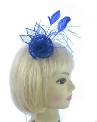 Small royal blue feathers Fascinator  clip Wedding Ladies Day , Ascot Races