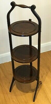 Antique Mahogany 5 Tier Folding Oak Cake Stand pl4291 Free Shipping