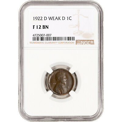 1922-D US Lincoln Wheat Cent 1C - Weak D - NGC F12 BN