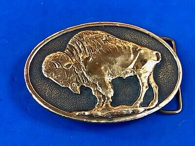 Vintage 1975 Adezy Belt Buckle American Bison Buffalo, Brass black