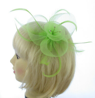 Lime Green Crinoline Fascinator with Feathers and Crystals. Weddings, Races,