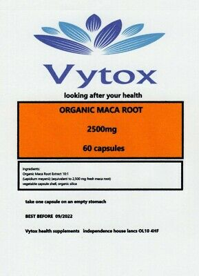 Organic Maca Root 2500mg High Strength 60 Capsules  Boost for Men and Women !