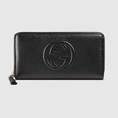6c47cbd94a53 Gucci Soho Black Leather Wallet Zip around Box Continental Authentic Italy  New