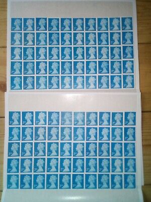 100 2nd CLASS BLUE SECURITY STAMPS UNFRANKED OFF PAPER WITH GUM £61 FV 61p (138)