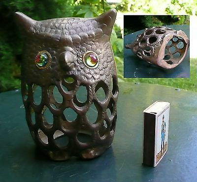 Collection HIBOUX CHOUETTES - Photophore hibou bronze