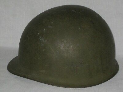 Old US Army Helmet WWII ? Korean War? Vietnam ? Olive Green Metal with buckles