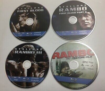 Rambo 1 to 4 (Blu-ray Discs lot) Discs Only! 4 movies no case! Lot