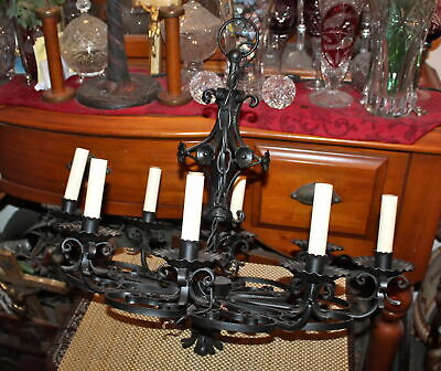 Vintage Wrought Iron 8 Light Chandelier Gothic Medieval Light Fixture Scrolls