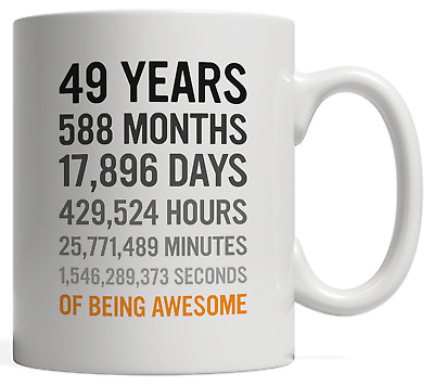 49th Birthday Gift 49 Forty Nine Years Old Mug Months Days Hours Of Awesome
