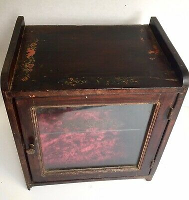 Antique Vintage Hanging Or Table Display Box Wood Glass Asian Decals Glass Shelf