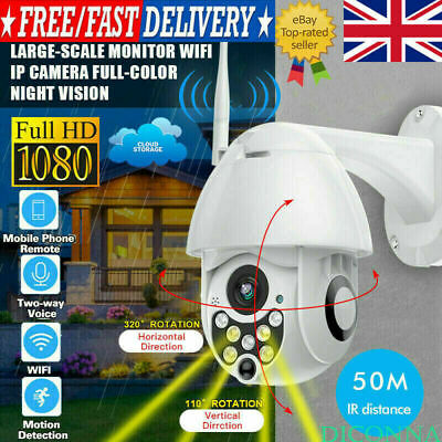 UK 1080P WIFI IP Security CCTV Camera WHITE Wireless Outdoor HD Home IR Cam 2MP