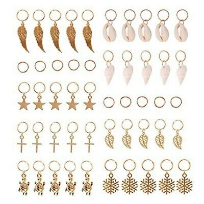 Hair Braid Rings, 50Pcs Hair Loops Clips Gold Ring Shell Leaves Star Conch S 7A2