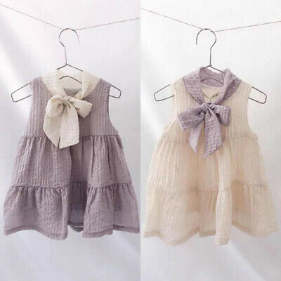 Toddler Kids Baby Girls Bow Summer Party Pageant Princess Gown Dress Sundress