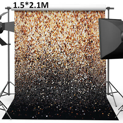 New Party Glitter Black Gold Dots Photo Studio Backdrop Background Props UK