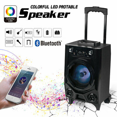 🔥BT Party Speaker System Bluetooth Big Led Portable Stereo Tailgate Loud w/ Mic