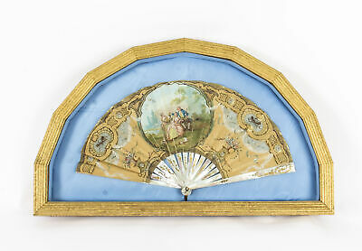 Antique English Victorian Hand Painted Mother Pearl Fan with Gilded Frame 19th C