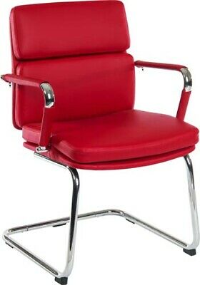 DECO Retro 'Eames' Style Cantilever Framed Visitor Office Visitors Chair in Red