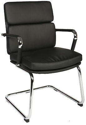 DECO Black Retro 'Eames' Style Cantilever Framed Visitor Office Visitors Chair