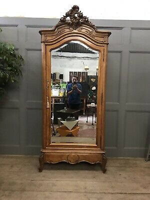 Antique French Oak Mirrored Louis Xv Style Armoire