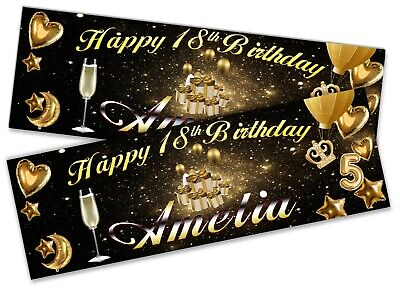 x2 Personalised Birthday Banner Champagne Adult Party Decoration Poster 16