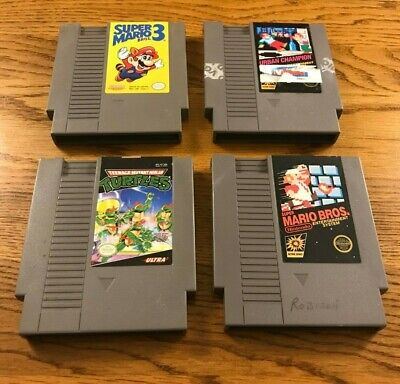 Lot of 4 NES Original Nintendo Game Cartridges Untested As Is Mario TMNT