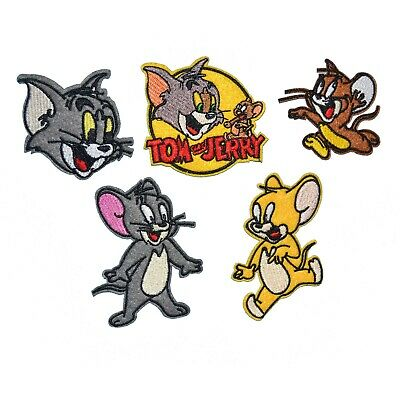 5-PACK Tom and Jerry Iron On Patch Embroidery Applique Badge for Cloth Hats Bags