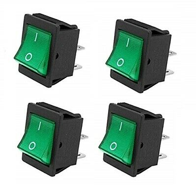x4 Rocker Switches On-Off Latching Switch 16A 250VAC T105 3//4 HP Green Light