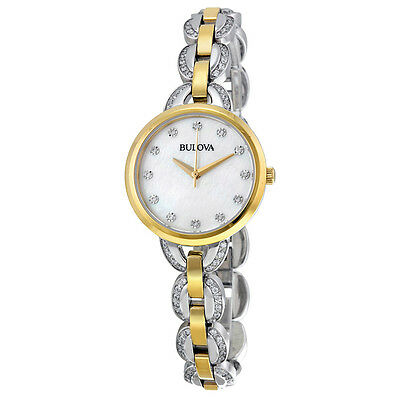 Bulova Women's Diamond Markers Quartz Two Tone Bracelet 28mm Watch 98L206