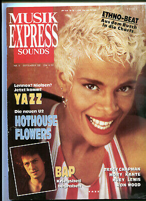 MUSIK EXPRESS Sounds  9 / 1988 :   YAZZ     Hothouse Flowers    BAP   Ron Wood