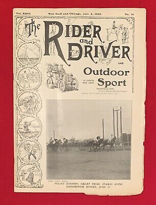 Early 1903 Rider and Driver Magazine Horses & Outdoor Sports Antique 7/4/1903