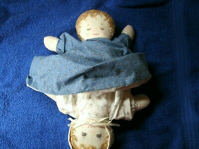 "Vintage Cloth Homemade Topsy Turvy Cotton Stuffed Doll 11"" #133"