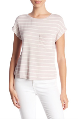H By Bordeaux Womens Sweet Pea Ivory Hacci Knit One Pocket Tee Shirt Sz XL 8814