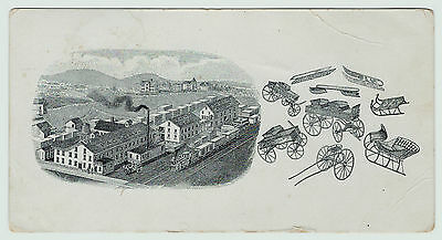 RARE Advertising Trade Card  Children's Wagons Velocipedes 1880 Bainbridge NY